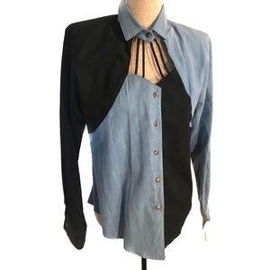 Vintage keyhole top blouse
